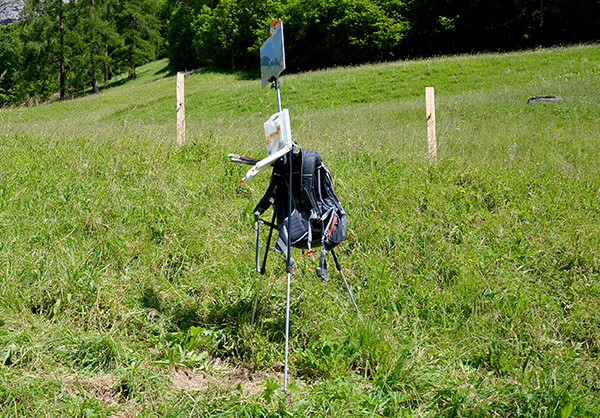 Ultralight plein air landscape painting easel and backpack.