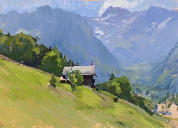Plein air landscape painting of a house above Les Plans, Switzerland.