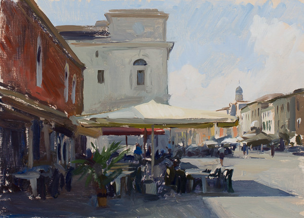 Plein air painting of a cafe in Chioggia, Italy.