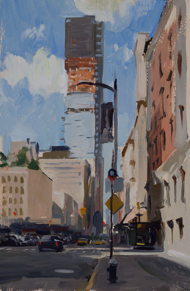 Plein air painting of Church Street in Tribeca.