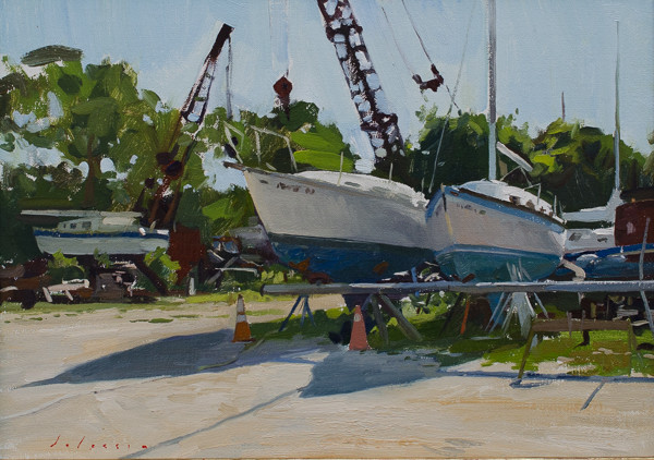 Plein air landscape painting of a boatyard in East Hampton.