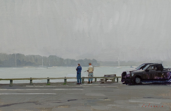 Painting of a fisherman in Sag Harbor.