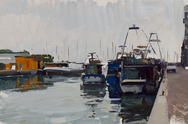 Plein air painting of fishing boats in Chioggia, Italy.