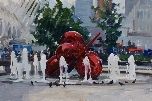 Plein air landscape painting of the Jeff Koons Sculpture at the World Trade Center.