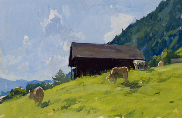 Plein air painting of cows in a field in Switzerland.