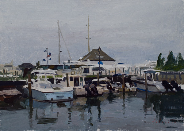 Plein air painting of boats in Sag Harbor.