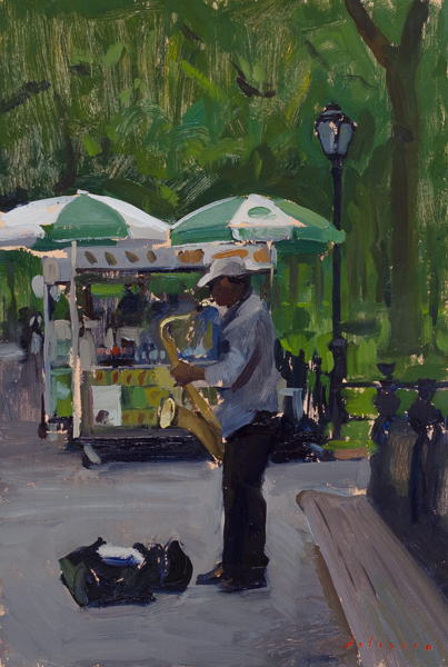 Plein air painting of a Saxophonist in Central Park.