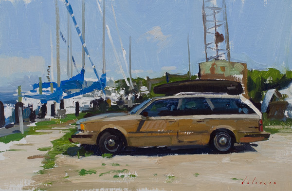 Painting of a Station Wagon in a boat yard in East Hampton.