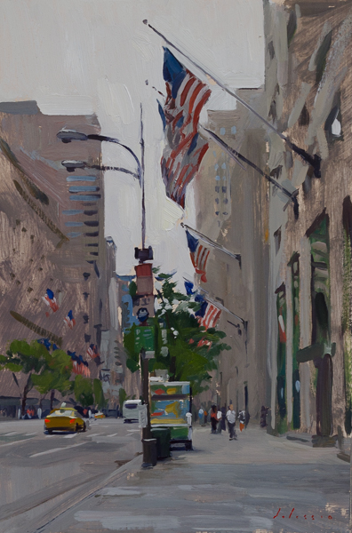 Plein air painting of the flags on Fifth Avenue.