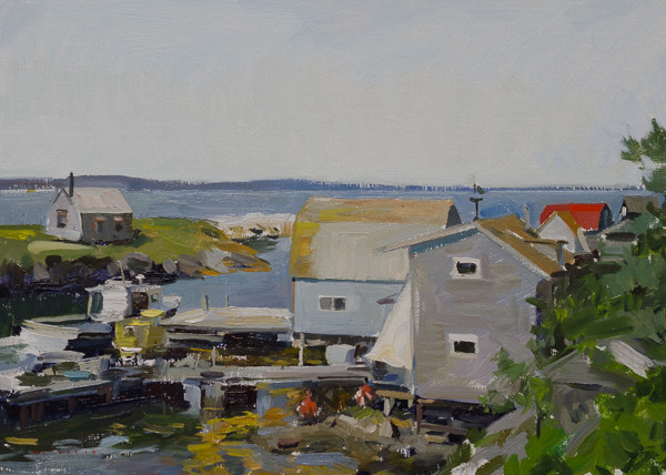 Plein air landscape painting of Blue Rocks, Nova Scotia, Canada.