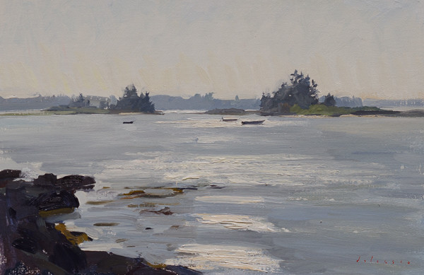 Plein air landscape painting of the point at Blue Rocks, Nova Scotia.