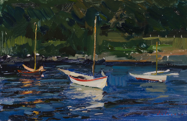 Plein air painting of dinghies at sunset in Lunenburg.