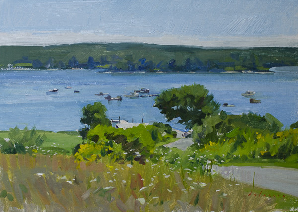 Plein air painting of Broad Cove, Maine.