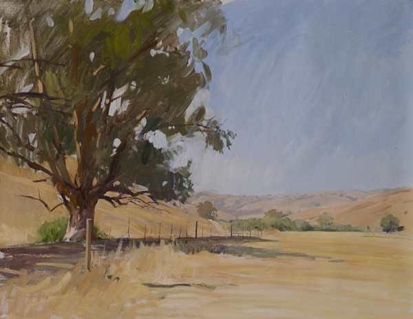 Plein air painting of Green Valley, Cambria.