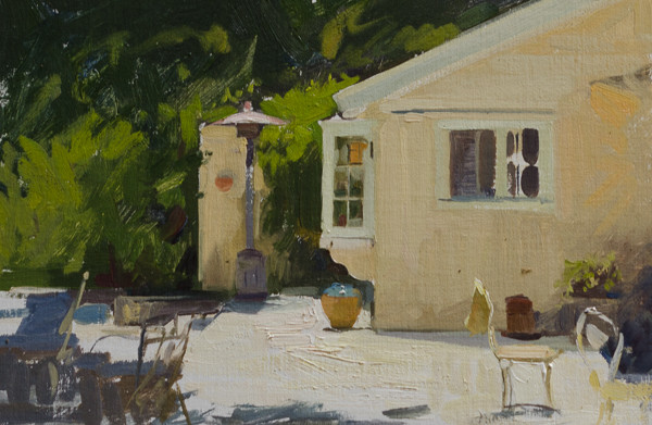 Plein air painting of a patio in Carmel Valley, California.