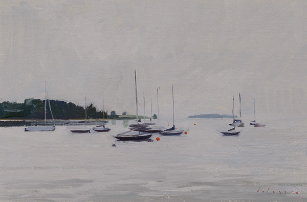 Plein air painting of boats in Chester Harbor, Nova Scotia.