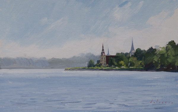 Plein air painting of the churches in Mahone Bay.