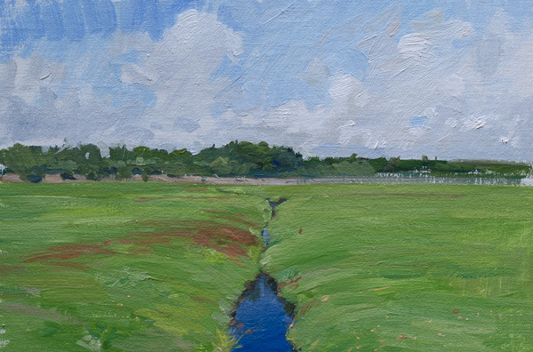Plein air painting of a Cranberry Bog.