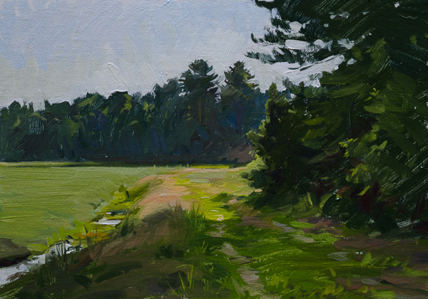 Landscape painting of a cranberry bog.
