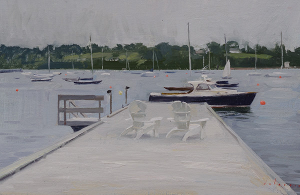 Plein air painting of a dock in Chester, Nova Scotia.
