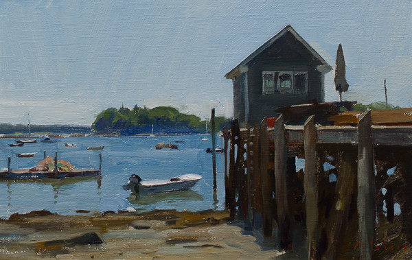 Plein air painting of a dock in Friendship, Maine.