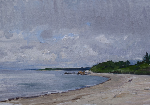 Plein air landscape painting of Fisherman's Beach, Quissett Harbor.