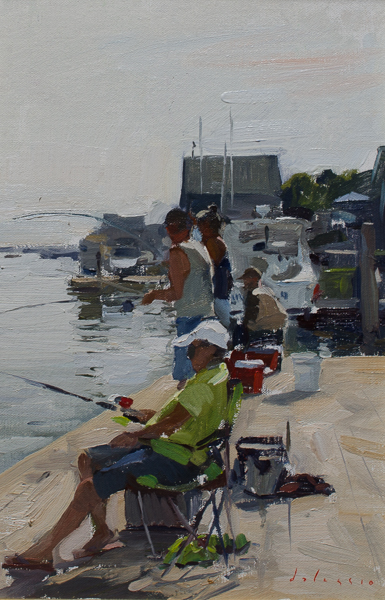 Painting of fishermen in Friendship, Maine.