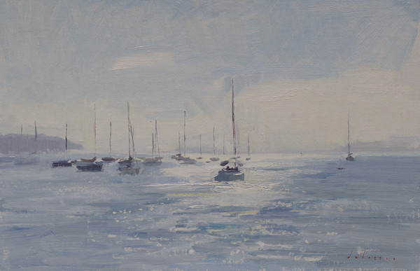 Plein air landscape painting of fog lifting in Mahone Bay.