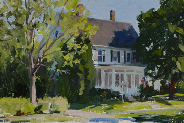 Plein air landscape painting of Haynes Gallery in Maine.