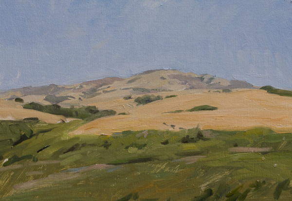 Plein air painting of the hills near Hearst Castle.