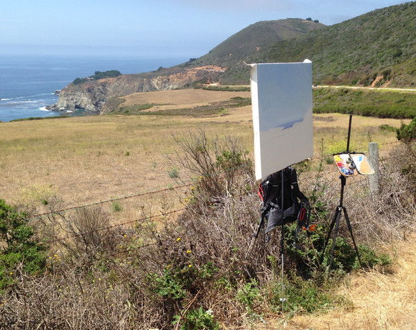 Plein air landscape painting set up in Big Sur, California.