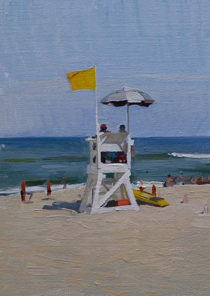 Plein air painting of a lifeguard station on Marconi Beach, Cape Cod.