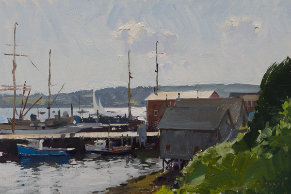 Plein air painting of Lunenburg Harbor, Nova Scotia.