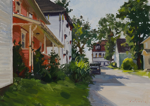 Plein air painting of a street in Lunenburg, Nova Scotia.