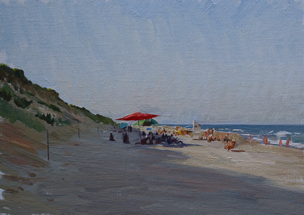 Plein air painting of an umbrella on Marconi Beach, Cape Cod.