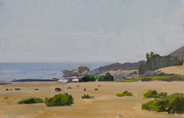 Plein air painting of Notley's Landing, Big Sur, California.