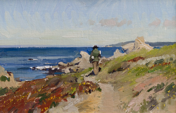 Plein air painting of an artist working in Carmel.