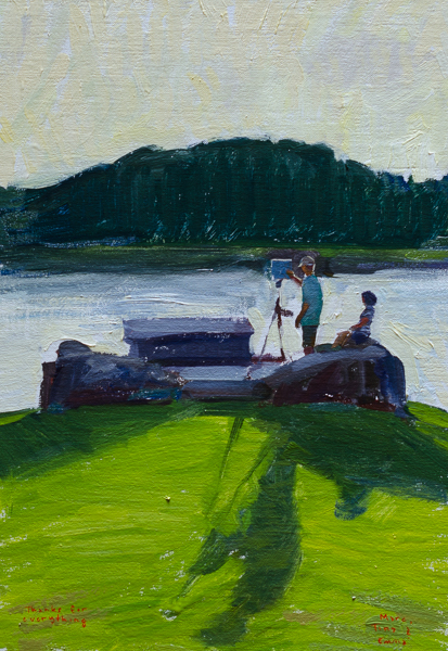 Plein air painting of a painter at sunset.