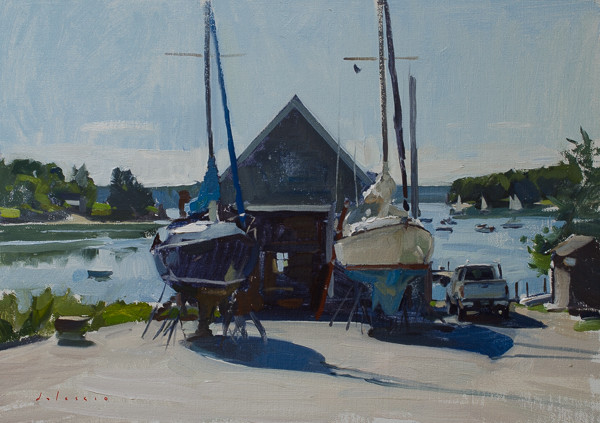 Plein air painting of a boatyard in Round Pond, Maine.