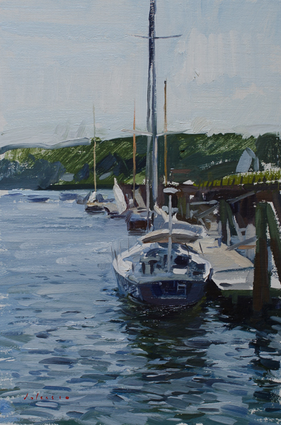 Plein air painting of a sailboat in Rockport, Maine.