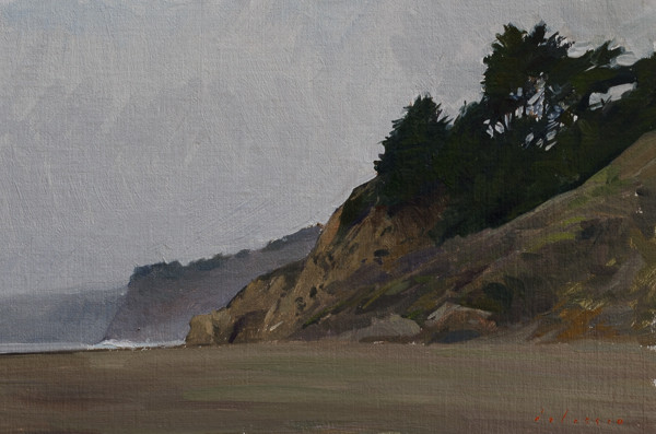 Plein air painting of San Carpoforo beach.