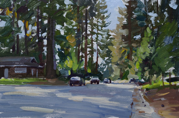 Plein air painting of a street in South Lake Tahoe, California.