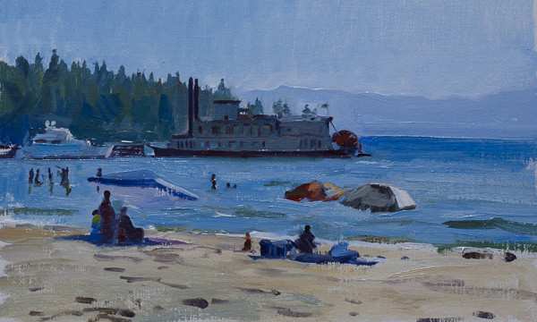 Plein air oil painting of the Tahoe Princess on Lake Tahoe.
