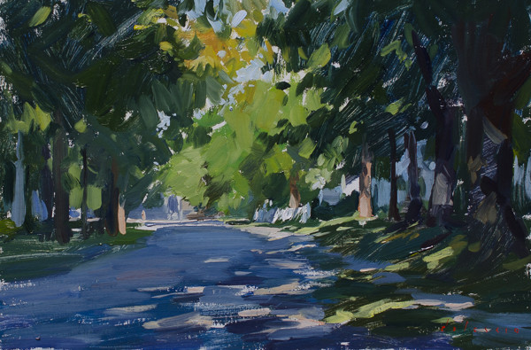 Plein air painting of a street in Thomaston, Maine.
