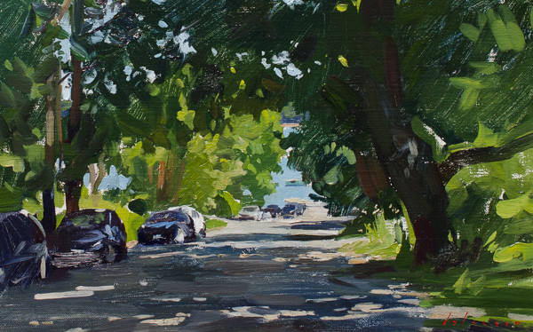 Plein air painting of a road in Friendship, Maine.