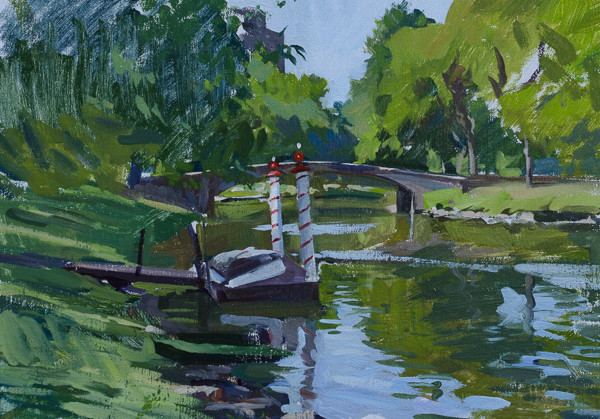 Plein air painting of the Boston Gondola dock on the Charles River.