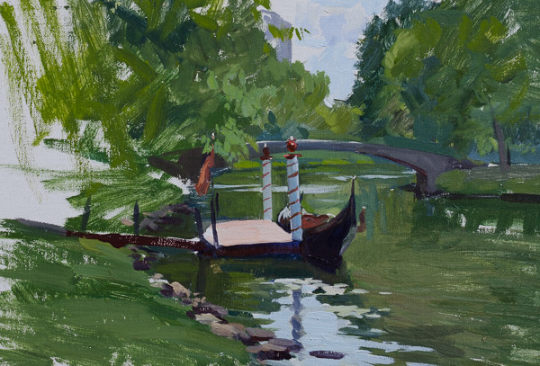 Plein air painting of a Charles River Gondola in Boston, MA.
