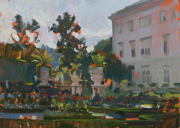 Plein air painting of the Mirabell Gardens in Salzburg, Austria.