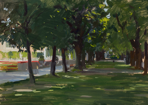 Plein air painting of trees in the Mirabell Gardens, Salzburg, Austria.
