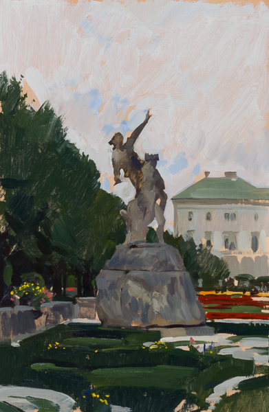 Plein air painting of statues in the Mirabell Gardens, Salzburg, Austria.